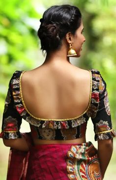 u shape backless blouse design,backless blouse designDesigner Black Blouses You Can Shop Right Now!It's 2019 guys, and it's time that your blouse really makes an impact! Blouse Back Neck Designs, Black Blouse Designs, Simple Blouse Designs, Stylish Blouse Design, Indian Blouse Designs, Kalamkari Blouse Designs, Saree Blouse Designs, Saree Blouse Patterns, Blouse Styles
