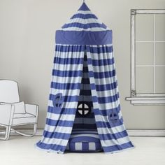 Home Sweet Play Home Canopy (Blue Stripe)  | The Land of Nod #playroom