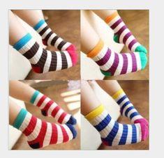 a4a7768ed2 2014 New Year paragraph rainbow stripes cotton children socks baby girl boy  socks 5 pieces   lot