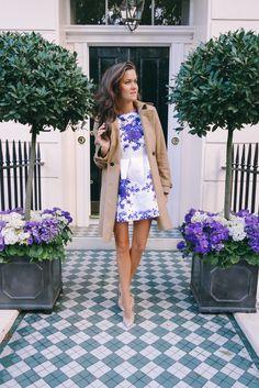 Tan Burberry coat, white & blue china minidress, Christian Louboutin nude pumps. The Londoner.