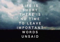 Life is short there is no time to leave important words unsaid.