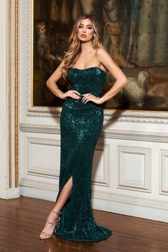 3f953770ab Green Sequin Bandeau Fishtail Maxi Dress – Club L London