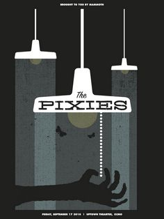 The Pixies concert poster  at the Uptown Theater, Kansas City- Sep 17, 2010  hand made 4 color screen print  measures 18 x 24 inches  edition- 200  artist:  Dan Padavic (Vahalla Studios)