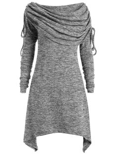 $14.26--T-shirts | Gray 3xl Long Foldover Collar Plus Size Ruched Top - Gamiss