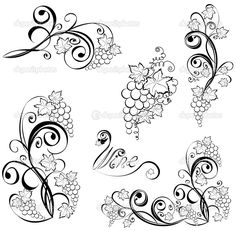 grape vine tattoos   Grapevine. Wine design elements. - Stock Illustration