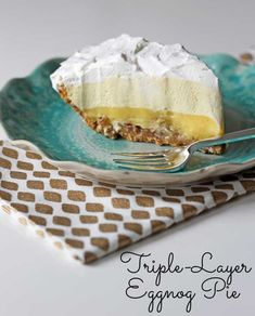 Triple-Layer Eggnog Pie - three delicious layers add up to be one of the best pies you'll ever eat!