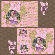 Minnie Mouse Glittery Pink Gold Birthday Party invitations by KDesigns2006 Minnie Mouse Birthday Invitations, Minnie Mouse 1st Birthday, Minnie Mouse Pink, Pink And Gold Birthday Party, 1st Birthday Parties, Gold Backdrop, Unique Invitations, First Birthdays, Gold Glitter