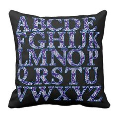 Home Decorative Navy Blue and White Wintersweet English Alphabet Printed Throw Pillow Cover Zipper Pillowcase For Bedroom 18X18 Inch * You can find out more details at the link of the image.