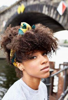 curly hair, afro hair with headband