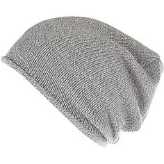 Grey knitted slouchy beanie hat £10.00