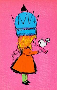 pink+princess+vintage+illustration+mod+neon+von+daisychainvintage