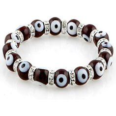Vishal Jewelry 10mm Glass Eye Beads Translucent Brown Swarovski Evil Eye Stretch Bracelet Fashion Bracelets. $11.95