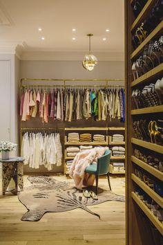 Jenna Lyon's Soho Loft walk in closet gold