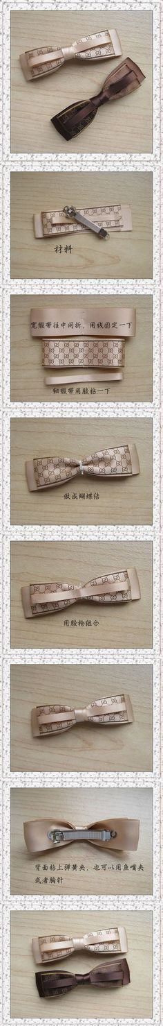 Great ribbon bow barrette - foreign languate, but pictures are good