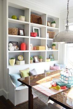 paint is Timber Wolf Gray by Benjamin Moore Young House love. Built in banquette & shelving Dining Bench With Storage, Storage Bench Seating, Kitchen Benches, Dining Nook, Kitchen Storage, Kitchen Seating, Wall Storage, Kitchen Banquette Ideas, Built In Dining Room Seating