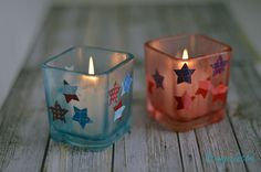 Great #crafts for the 4th of July. These 4th of July candle holders are super easy to make and look amazing! http://crunchyfrugalista.com/fourth-of-july-candle-holders/
