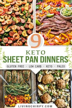 9 Quick, easy and delicious sheet pan dinner recipes. Perfect for a keto, paleo, low-carb or gluten-free meal plan. For a healthy meal in a flash, whip up these simple recipes on a busy weekday. #easyketo #easyrecipe #recips #keto #detodiet #lowcarb #lowcarbrecipes #easydinnerrecipes #sheetpanrecipes #onepanmeals #quickrecipes #healthyfood #healthyrecipes