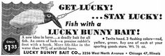 "A 1953 advertisement for the ""Lucky Bunny"" lure."