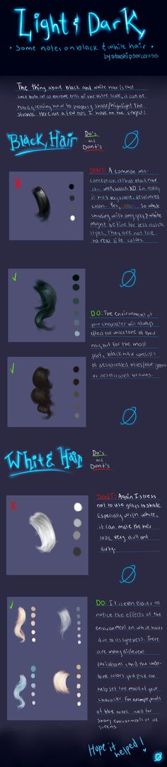Light and Dark: A Tutorial on Black and White Hair by StarshipSorceress.deviantart.com on @deviantART