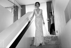 Lace deep V long sleeved wedding dress - 2015 Collection - Lihi Hod