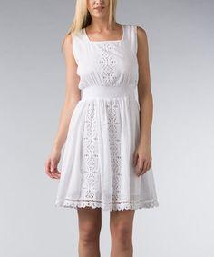 White Eyelet Elastic-Waist Square Neck Dress - Women #zulily #zulilyfinds