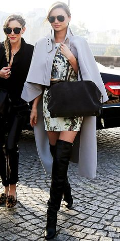 Street style | Cape coat, printed dress and over the knee boots | Just a Pretty Style