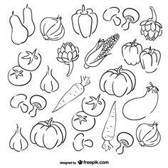 Conjunto de dibujos de verduras Vector Gratis