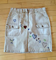 Items similar to Upcycled khaki denim mini with crystal hummingbird studs and doodled hearts! Women's size 10 on Etsy Skirts For Sale, Hummingbird, Bermuda Shorts, Studs, Upcycle, Casual Shorts, Hearts, Size 10, Crystals