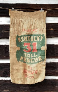 Vintage Burlap Sack, Number 31 Kentucky Tall Fescue Grass; Rustic Farmhouse Cottage Decor, Barn Feed Seed Sign by harbor17 on Etsy