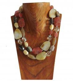Pink gemstone, cream quartz and grey crystal 2 string necklace