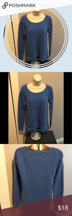 Loft - NWOT blue knit sweater . Never Worn Loft - blue knit sweater NWOT - Never Worn 💯 cotton . Scoop neck LOFT Sweaters Crew & Scoop Necks