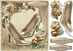 Beautiful Gold Glamour Shoes and Roses on Craftsuprint - Add To Basket!