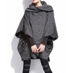 Stripe Color Block Cotton Cowl Neck Bat-Wing Sleeves Loose-Fitting Style Coat For Women