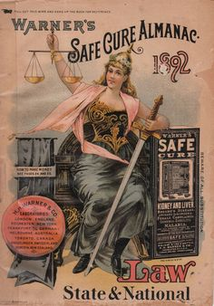 Warner's Safe Cure Almanac 1892 (front cover) - H.H. Warner & Co., Rochester, NY, USA (and several other locations around the world)