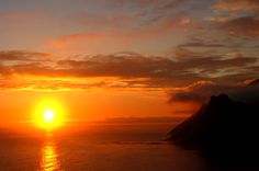 Romantic sunset at Chapman's Peak, Cape Town Cape Town, Sunsets, South Africa, Picnic, Scenery, Shots, Bucket, Romantic, Country
