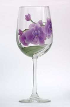 Orchids Hand painted Wine Glass – Wineflowers