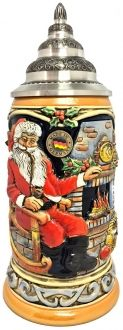 Santa Claus at Home Sitting by Fireplace LE German Christmas Beer Stein .75 L