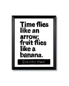 LINOCUT PRINT  Groucho Marx Quote  Time Flies like by WordsIGiveBy, $11.50