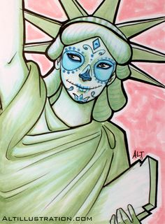 ALT Illustration Copic Marker Print $12 #art #sketch #draw #copic #cartoon #liberty #illustration #artist #gift #original