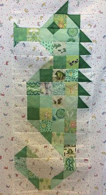 Mama Spark's World: Sea Horse Quilt Top