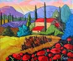 Provencal light by Louise Marion - Louise Marion, artiste peintre, paysage urbain, Quebec, couleurs