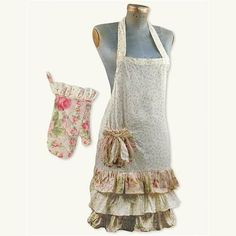Pink Rose Victorian Style Roses Apron with Mitt