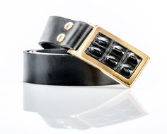LEATHER BELT,DESIGNED WITH 24CT GOLD PLATED BUCKLE AND CROCODILE SKIN Designer Belts, Crocodile Skin, Leather Belts, Belt Buckles, Cuff Bracelets, Gold, Accessories, Jewelry, Jewlery