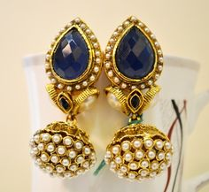 moti and stone Gold Earrings, Gold Jewelry, Jewelry Box, Jewelery, Bollywood Jewelry, Jewellery Sketches, Jewelry Patterns, Anklets, Indian Jewelry