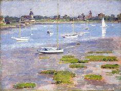 Theodore Robinson (1852-1906)-'low tide riverside Yatch Club'-oil on canvas-1894