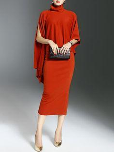 Shop Midi Dresses - Orange Slit Two Piece Polyester Batwing Midi Dress online. Discover unique designers fashion at StyleWe.com.