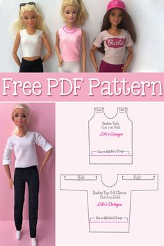 How to make 12 different style Barbie Doll Shirt Free PDF Pattern Sewing Barbie Clothes, Barbie Clothes Patterns, Baby Doll Clothes, Sewing Dolls, Barbie Shirt, Barbie Top, Barbie Dolls Diy, Crochet Clothes For Women, Crochet Doll Clothes