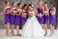 coral wedding reception | ... ; four seasons wedding ; purple and coral bridesmaids; coral boquet