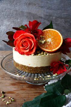 Pistachio Blood Orange Cheesecake (raw, vegan, grain-free)