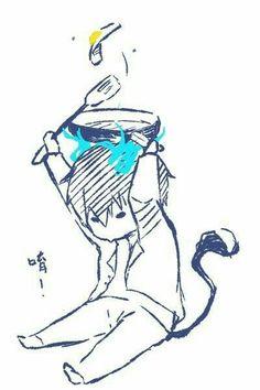 Okumura Rin, cute, chibi, frying pan, egg, blue flames, flames of Satan, cooking, spatula, text; Blue Exorcist